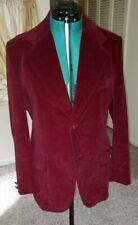 Vintage Val Cassi Maroon Velour Sport Coat Blazer 42 Regular Made In Japan