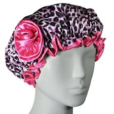 Stylish Waterproof Satin Shower Cap - Leopard And Rose - Young And Pretty