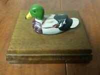 Vintage Duck Double Deck Card Holder in Wooden Box Price Products Cards Unopened