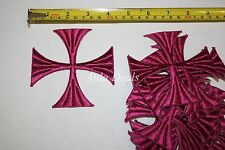 "(12 pcs)Iron Embroidered Religious Patch Purple Color Cross 4""x4"" (Design #0017)"