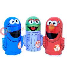 Sesame Street Metal Coin Bank 3pc Set - Elmo Cookie Monster Oscar Piggy Bank
