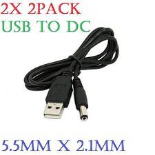 (2x) USB-A a 5.5 mm/2.1 mm barril conector macho Cable conector de cargador de alimentación DC 5 V