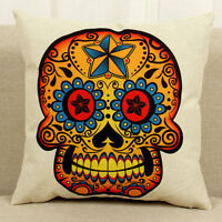 45cm Skull Pattern Linen Cotton Throw Pillow Case Cushion Cover Home Sofa Decor