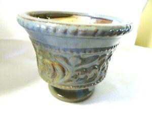 "5"" Clay Flower Vase-Aqua/Gold-Pedestal-High Gloss Finish"