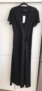 French Connection Faux Wrap Dress black Large polka dots Size 12 BNWT RRP $200