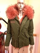 New Green Army Patch Real Fox Fur Fox Lined Parka jacket Sz S $2600