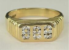 FANTASTIC MEN'S 14K SOLID YELLOW GOLD & GENUINE SPARKLING DIAMOND RING, NO RSRV!