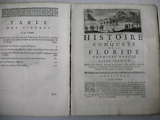 rare édition 1737 HISTOIRE DES INCAS CONQUETE DE LA FLORIDE Garciilasso Vega