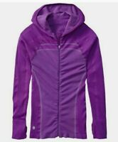 Athleta Twist Jacket Full Zip Up Lightweight Stretch Hooded thumb holes Yoga S