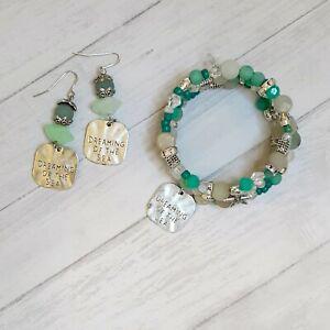 Rainbow Hearts handmade 3 strand memory wire bracelet & earrings set Amazonite