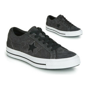 CONVERSE ONE STAR OX SHARKSKIN MENS TRAINERS LARGE UK SIZE 11 & 12 BLACK WHITE