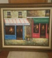 Cute Pub Restaurant Framed Painting Artwork Oil On Canvas Signed Benglis