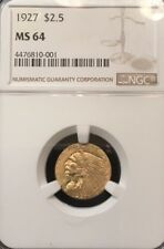 1927 NGC Quarter Eagle, $2.5 Gold Indian NGC MS 64 ** Very Nice & Sharp, Tough!