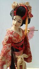 "Vintage Japanese Geisha Doll 17""  Silk Kimono Yoshitoku Doll"