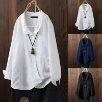 ZANZEA UK Womens Turn Down Collar Long Sleeve Casual Loose Tops Blouse T-Shirt