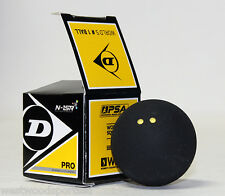 DUNLOP PRO DOUBLE YELLOW DOT SQUASH BALL (1) NEW IN BOX
