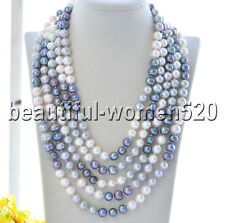 Z8475 10mm Gray White Black Round Freshwater Cultured Pearl Necklace 100inch