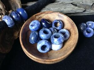 Sodalite Gemstone Beads 5mm Hole ~ Set of 3 Dreadlock Crystal Energy Healing UK