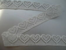 5 Yards White Elastic Lace Beautiful Heart Pattern Lace Apparel DIY Decoration