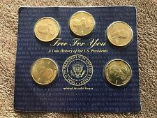 1997 READERS DIGEST 5 BRASS US PRESIDENTS COINS - FIVE NOT U.S. DOLLARS