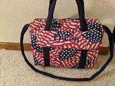 American flag custom handmade Diaper Bag w/ch pad by Emijane free embroidery