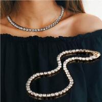 Damen Tennis Choker Collier Kristall Ketten Gold/Silber/Schwarz Halskette Braut