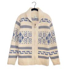 Vintage Pendleton Big Lebowski Light Blue & Gray Shawl Collar Cardigan Sweater M
