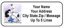 30 Snoopy Kissing Lucy ( Peanuts ) Personalized Address Labels