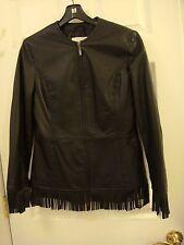 Pamela McCoy Motorcycle Riding Biker Black Fringed Leather Jacket Ladies Size XS