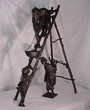 "Meiji Period Bronze Sculpture By Udagawa Kayus C.1900 48"" Tall Museum Quality"