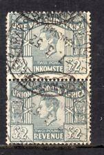 1946/52 South Africa Bft:78 £2 Grey Vertical Bilingual Pair. Superb Revenue.