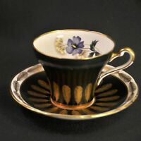 Royal Stafford Cup & Saucer Flowers & Gold Feathers Black #8445 w/Gold 1940-1952
