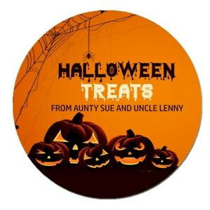 24 Personalised Happy Halloween Pumpkin Stickers Trick or Treat Sweet Bags Cone
