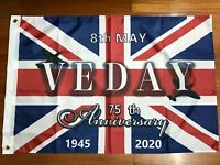 2020 VE DAY 75 ANNIVERSARY Victory In Europe Flag Banner UK ARMY RAF veterans