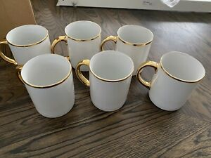 COUNTRY ROAD COFFEE CUPS MUGS GOLD TRIM SET OF 6. PERFECT CONDITION