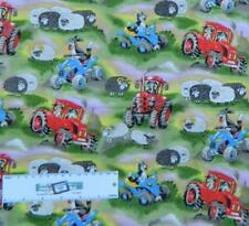 Patchwork Quilting Sewing Fabric TRACTORS and SHEEP DOGS FARM FQ 50X55cm NEW