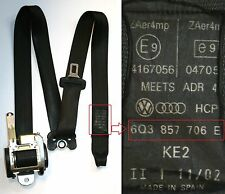 VW Polo Seat Belt Drivers Side Front 3 Door 2002 to 2005 Black 6Q3 857 706 E