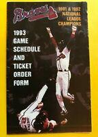 1993 Atlanta Braves 1992 NL CHAMPIONS Vintage Baseball pocket schedule card MLB