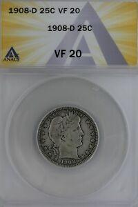 1908-D  .25  ANACS   VF 20   Barber Quarter, Liberty Head Quarter, Barber 25c,