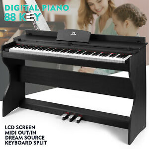 ♬Mustar Digital Piano 88 Weighted Keys 3 pedals Wooden Stand LCD Screen