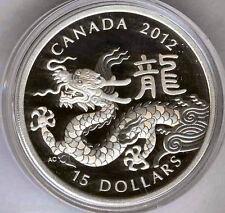 Canada 15 Dollars 2012 Calendrier asiatique argent  @ Année du Dragon @