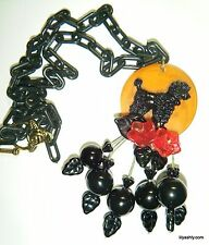 Artist Created Poodle Lucite & Bakelite Cherry Art Necklace Black Plastic Chain