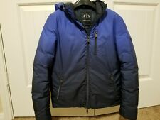 Armani Exchange AX Mens Hooded DOWN Jacket Coat - BLUE - Size XS