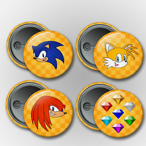Sonic Pin Magnet Buttons Badge 1.25in Tails Knuckles Chaos Emeralds Game New