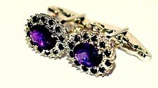 New Design925 Sterling Silver Fine Quality Natural Amethyst & Sapphire Cuff link