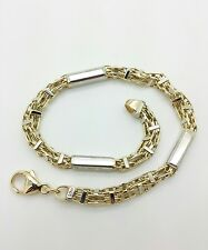 "14k Solid Yellow White Gold Italian Bar Box Link Bracelet Chain 8.5"" 18.2 grams"