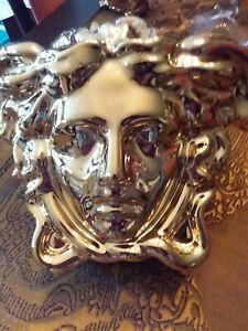 Rosenthal Versace Medusa Grande  Vase,neue,mit Signum,  Gold und Silber,15cm.