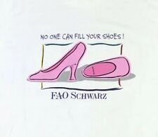 FAO Schwarz Shirt Vintage White Single Stitch Made In USA Medium High Heel 1990s