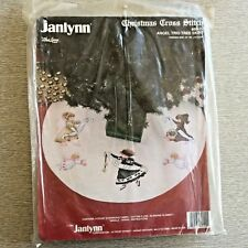 "Janlynn Christmas Cross Stitch Kit, Angel Trio Tree Skirt 44"" Round, NIP"