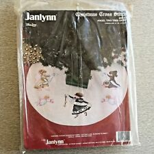 "Janlynn Christmas Cross Stitch Kit, Angel Trio Tree Skirt 44"" Round, NIP"